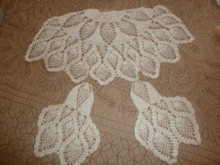 Antique Vintage Crochet Chair Covers Back Arm Covers