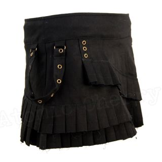 Spin Doctor Steampunk Mini Skirt Ruffle Black Gothic Costume Punk Layered