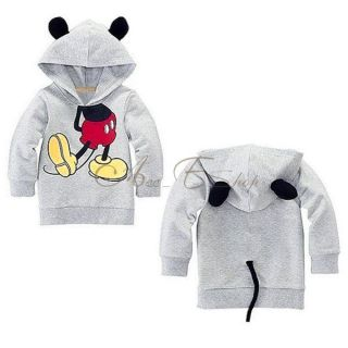 Toddler Boy Girl Unisex Hood Cute Kids Mickey Mouse Top T Shirt Clothing 4T