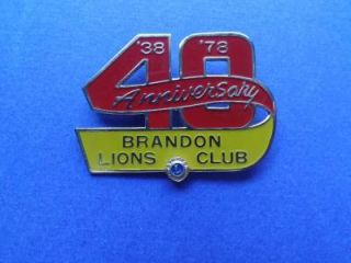 1938 78 40 Year Anniversary Brandon Canada Lions Club International Pin