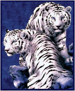 "White Tiger Fleece Blanket Fits Queen King Size 79"" x 95"" Super Plush Couple"