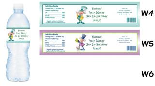 Alice in Wonderland Printed Water Bottle Labels Birthday Party Favors