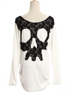 Girls Skull Letter Printing T Shirt Womens Clothes Sleeved Lace Both Side M7
