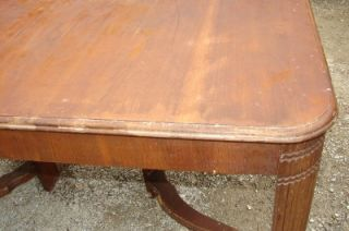 Antique Wood Dining Room Table Chair Set Hidden Leaf