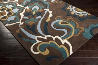 ... Plush Contemporary Area Floor Rug Rectangle Brown Teal Gray Rustic  Cabin Home ...