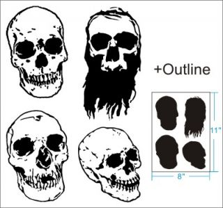 4 Skull Airbrush Stencil Artwork Pattern Art Car Paint Party Custom 010289Y 9