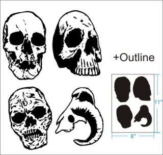 4 Skull Airbrush Stencil Template Pattern Craft T Shirt Party Custom 010291Y 9