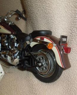 "Franklin Mint Harley Davidson 1998 ""Fat Boy"" Motorcycle Model 1 10"