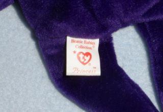 Ty Original Beanie Baby First Edition Princess Diana Purple Bear No Space No