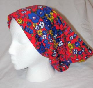 True Vintage 60s 70s Bright Floral Kerchief Head Scarf Hat Bandana Boho Hippie