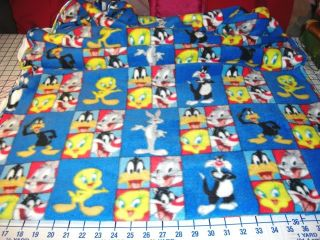 Looney Tunes Bugs Bunny Tweety Bird Daffy Duck Blue Fleece Fabric Bt½yd