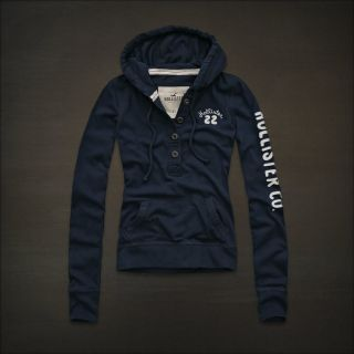 Hollister by Abercrombie Womens Navy Blue Hoodie Jacket Sweatshirt XS