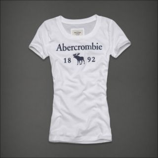 Abercrombie Hollister Women White Navy Blue Moose Graphic Logo Shirt Top XS