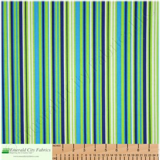RJR Crazy for Dots and Stripes Green Blue Cotton Fabric