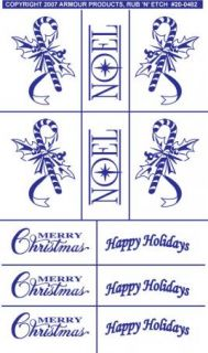 Armour Rub 'N' Etch Glass Etching Stencil Holiday Christmas Noel