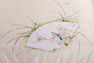ultra Smooth Retro Chinese Style Paper Fan Pattern Silk Quilt Queen Size