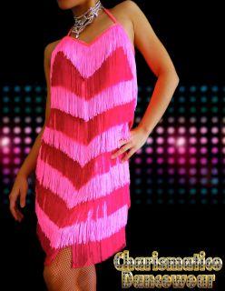 Charismatico Custom Pink Fuchsia Samba Cha Cha Fringe Salsa Latin Dance Dress