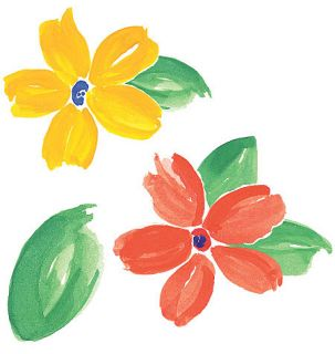 Fresh Flowers Wallies Spring Flower Cutouts 25 Stickers Orange Yellow Green Leaf