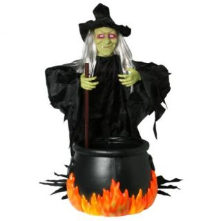 4' Halloween Animated Witch Brew Cauldron Prop Lights