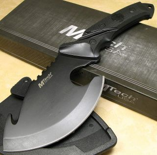 MTech Fixed Wide Black Blade Hatchet Hunting Guthook Skinner Knife Axe Sheath