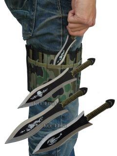 "6pc 6 5"" Thrower Throwing Knife Set w Leg Camo Wrap Dragon Scorpion Skull"