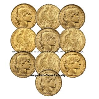 Lot of 10 French 20 Franc Roosters Fractional Gold Coins World Bullion France