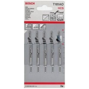 5 Pcs Jig Saw Blades T101AO HCS Bosch Clean for Wood Hitachi Black Decker Dewalt
