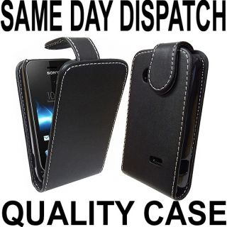 Black Leather Flip Case Cover Pouch for Sony Xperia Tipo ST21I