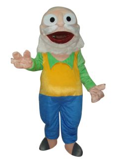 Old Man Doctor Cartoon Mascot Costume Suit Adult Size