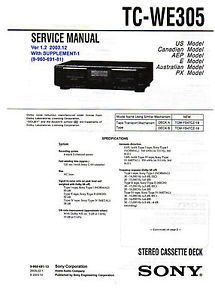 Service Manual for Sony TC WE305 Stereo Dual Cassette Deck Owners Instructions