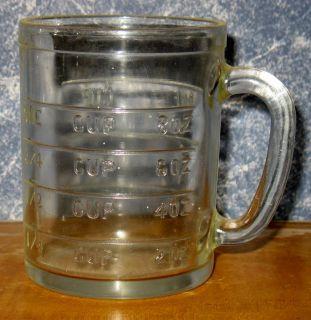 Vintage Hazel Atlas Embossed Glass One Cup Measuring Mug