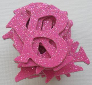 Doodlebug Bubblegum Hot Pink Glitter Alphabet Chipboard Letters Die Cuts