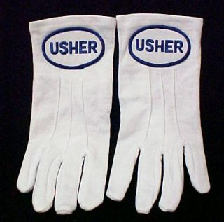 Usher White Nylon Knit Church Gloves Blue Embroidery