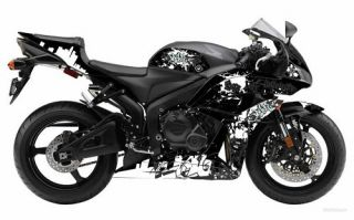 Flu Designs Honda Graffiti Sport Bike Graphic Kit Black White CBR600RR 2007 08
