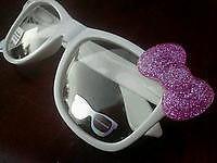 Sale Nerd Hello Kitty Inspired White Glasses Pink Glitter Bow Clear Lens Costume