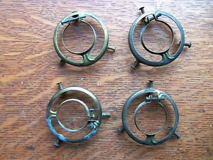 Four Antique Brass Shade Holders for Glass Chandelier Globes Pat 1890