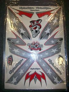 Troy Lee Designs TLD Helmet Sticker Decal Graphic Kit Shoei Rebel Flag Silver MX