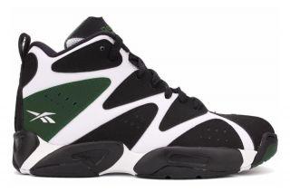 Reebok Kamikaze I Mid V61800 Youth Big Kid GS White Black Green Basketball Shoes