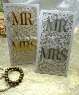 One Sample Mr Mrs Wedding Laser Cut Hot Stamp Invitations Envelope Seals