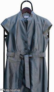 Calvin Klein Gray Cap Sleeve Belted Shirt Dress Women's Size 6