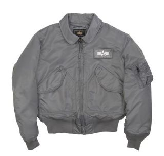 Alpha Industries CWU 45 P Air Force Military Flight Jacket Gray Black Navy Sage