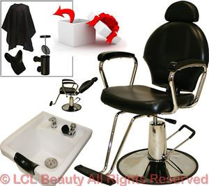 All Purpose Hydraulic Barber Chair White Ceramic Shampoo Bowl Salon Equipment
