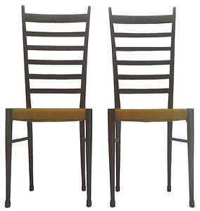 Pair Otto Gerdau Tall Ladder Back Chairs Mid Century Modern Italy Gio Ponti Era