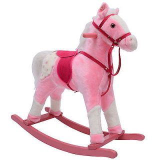 Qaba Kids Toy Plush Pink Girls Rocking Horse Pony Rocker w Neighing Sounds