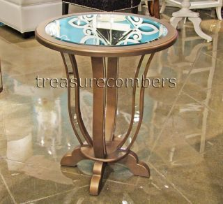 Round Mirrored End Table Nightstand Antiqued Gold Hollywood Regency