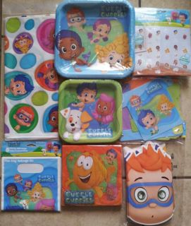 Bubble Guppies Birthday Party Decoration Banner Plates Napkins Tablecover Masks