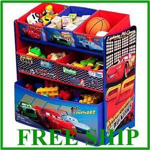 Disney Cars Multi Bin Toy Box Organizer Kids Room Boy Free SHIP New