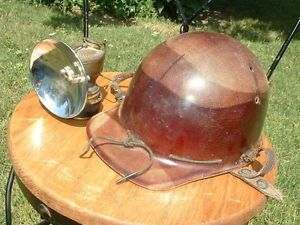Vtg Coal Miner Hard Hat Justrite Carbide Lamp Lantern Gold Mining Helmet Safety