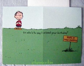 Snoopy Peanuts Happy Belated Birthday Card New