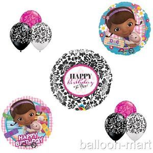 Doc McStuffins Balloons Girls Birthday Party Supplies Damask Lambie Hot Pink